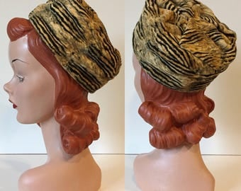 1950's Velvet Tiger Print Toque Pillbox Hat