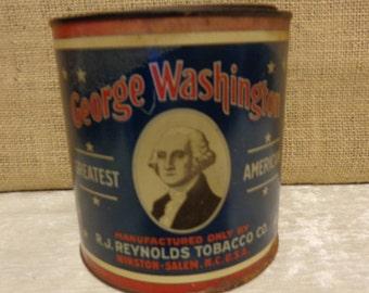 Vintage George Washington Cut Plug tin