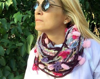 Pompom Scarf, Mulberry scarf, cocoon scarf, Infinity Scarf, Puffy Bubble Scarf, gift for her, Fashion Accessories