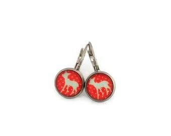 Stud Earrings, glass - stem stainless steel - glass 8 mm - red earring - deer - hypoallergenic / Deers earrings