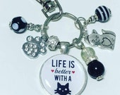 Cat lover keyring cat lover keychain i love cats Life is better with a cat