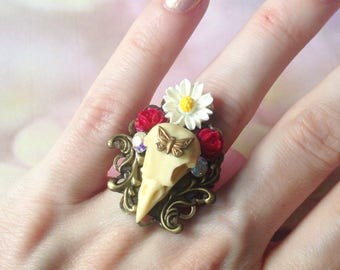Bird skull Adjustable ring and Daisy