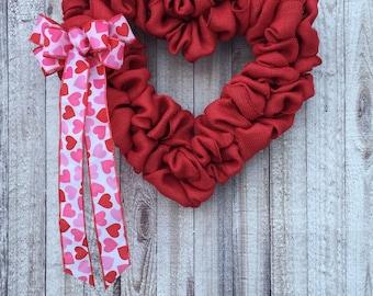 Valentines Decor, Valentines Wreath, Valentine Decorations, Valentine Wreaths for Front Door, Burlap Heart Wreath, Heart Wreath