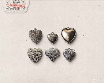 Romantic Silver Heart Pendants, Digital Scrapbooking Elements, Commercial Use OK, Valentine's Day, Wedding, Silver Charms, Trinkets, Jewelry