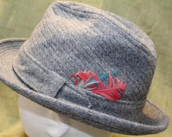 Vintage Resistol Tweed Men's Dress Hat Fedora 7  1/4 58cm Feather Hatband Men's Hat Classic Style