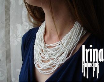 Ukrainian folk multistrand necklace. Bead necklace. Pearl color necklace