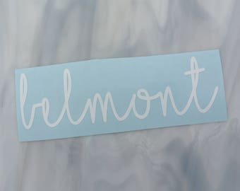 Lowercase Cursive Name Vinyl Decal (customizable with size, color, and text)