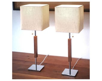 "Mid-century modern table lamp single or bedside pair, chrome, linen, walnut, style ""Valet"" cost 135 Each, made in Los Angeles"