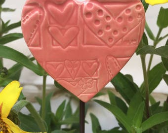 Pink Heart  Garden Stake