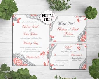 digital lace wedding invitation coral grey wedding invite printable digital file - Coral And Grey Wedding Invitations