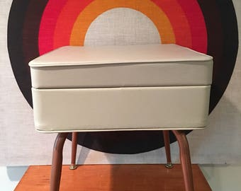 Mid Century Modern Ottoman with Storage, Foot Stool, Sewing Seat with Storage, Beige Ottoman with Copper Colored Legs, MCM Storage Ottoman