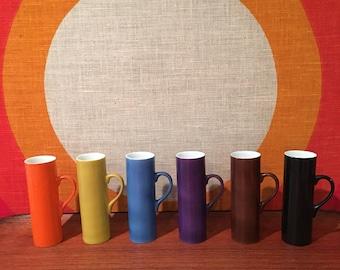 Vintage Schmid La Gardo Tackett Porcelain Espresso Cups, Demitasse Cups, Japan, Set of 6, Multicolored Mid Century Espresso Cups, Schmid-60