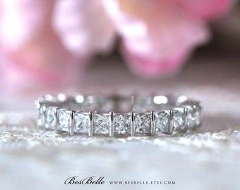 2.0 ct.tw Full Eternity Ring-Stackable Ring-Princess Cut Diamond Simulants-Anniversary Ring-Bridal Ring-Wedding Ring-Sterling Silver [7210]