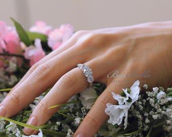 2.0 ct.tw Three Stone Engagement Ring-Brilliant Cut Diamond Simulant-Wedding Ring-Bridal Ring-Anniversary Ring-Sterling Silver [8612]