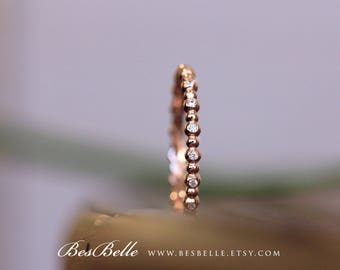 0.19 ct.tw Art Deco Eternity Ring-Stackable Band Ring-Elegant Band Ring-Stackable Ring-Rose Gold Plated-Sterling Silver [6954RGE]