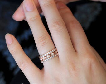 2.12 ct.tw Deco Mixed Full Eternity Ring Set-Brilliant Cut Pave Diamond Simulant-Stackable Ring-Rose Gold Plated-Sterling Silver [65429RG-3]