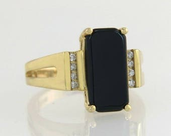 Estate 14K Yellow Gold 2.00ct Black Onyx & Genuine Diamond Ring
