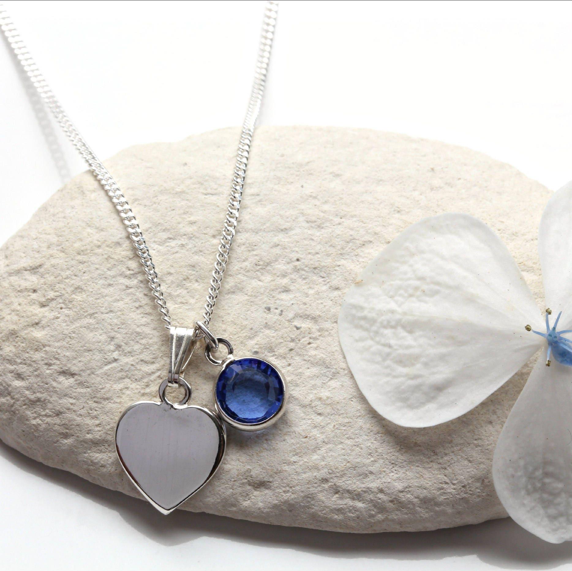 18th Birthday Cz T Bar Sterling Silver Heart Bracelet Can: Sapphire Heart Necklace Sterling Silver Swarovski Sapphire