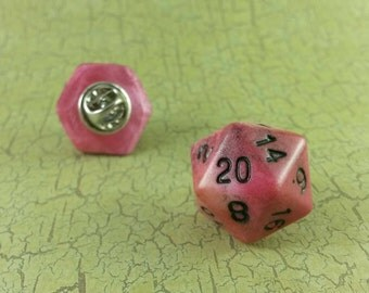D20 RPG Dice Pin, Tabletop Role Playing Game, Dice Hat Pin, Twenty Sided Pin, Geeky Gamer, Role Playing Dice Pinback, Critical Hit, Funny