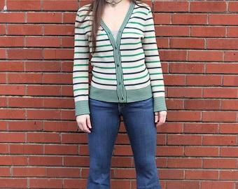 The Greenly Sweater: 1970s Vintage Green Navy Gray Striped Hippie Retro Irish Button Down Thin Cardigan Sweater