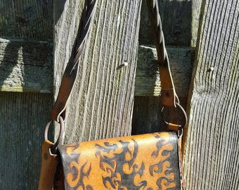 Tooled leather messenger bag. Boho chic Hippie saddlebag. Leather shoulder bag
