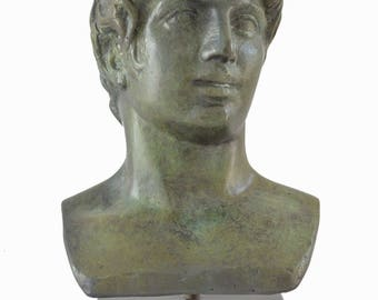 Apollo bust ancient Greek God of light, sun, poetry bronze sculpture