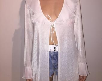 White frilly robe