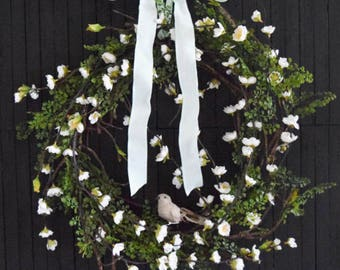 Cherry Blossom Twig Wreath | Front Door Wreath | Spring Wreath | Summer Wreath | Thin Wreath | Bird Wreath | Housewarming Gift