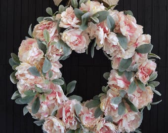 Blush Pink Peony Front Door Wreath for Spring and Summer