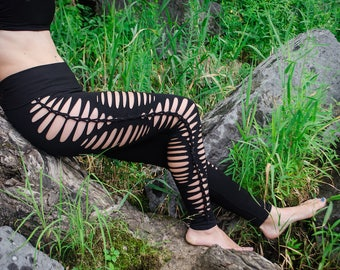 Yoga Leggings Yoga Braided Leggings Sexy Leggings Pixie clothes Tribal Leggings Yoga Clothes Cut Out Pants Flow Pants