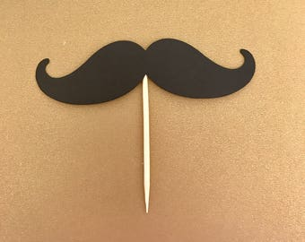 Mustache Cupcake Toppers - Mustache - Birthday - Cupcake toppers - Decorations