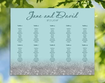Silver Seating chart, Light Green, Light Blue Wedding seating chart, Printable seating chart, Any color available - S032