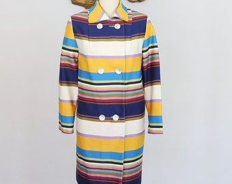 Vintage 1960's Double Breasted Multicolor Trench Coat