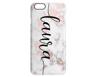 Rose Gold Marble Calligraphy Custom Name Personalised Phone Case For Apple Samsung Phone