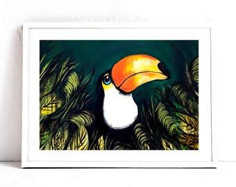 "Toucan Wall Art - Toucan Art Print - Tropical Bird Painting - Tropical Decor Fine Art 8x10"" Print"
