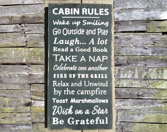Cabin Rules Wooden Sign, Cabin Rules Distressed Sign, Cabin Rules Rustic Sign, Cabin Rules Garden Sign, Cabin Rules Home Decor, Cabin Rules
