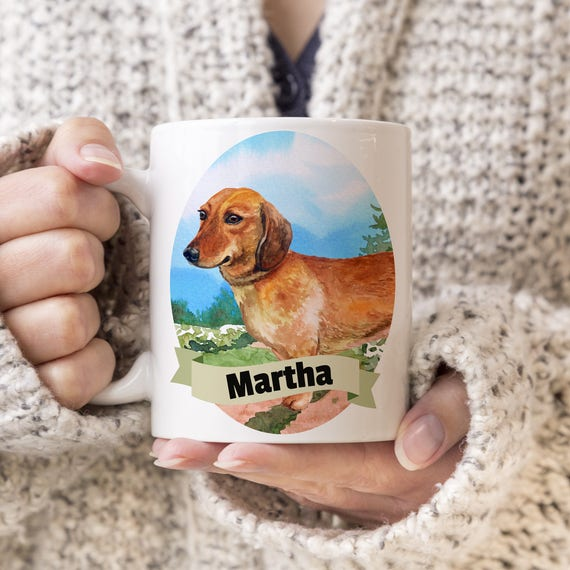 Dachshund Custom Dog Mug - Get your dogs name on a mug - Dog Breed Mug - Great gift for dog owner - Dachshund mug