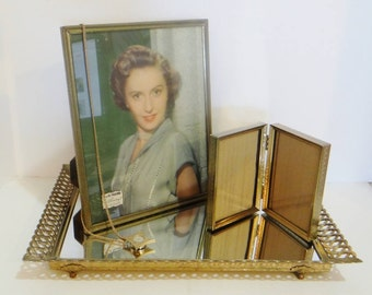 3 pc Mirror Tray Frames Hollywood Regency Vintage Glamour Large Easel Mirrored Tray Lrg Metalcraft Frame and Double Frame