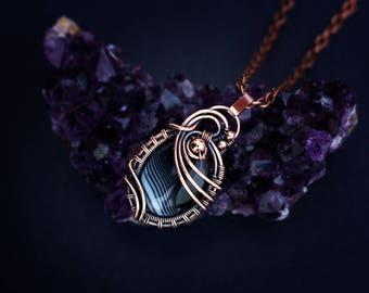 Wire wrapped jewelry Wire wrap pendant Copper jewelry Wire weaved jewelry Black necklace Agate wire jewelry Wired agate necklace