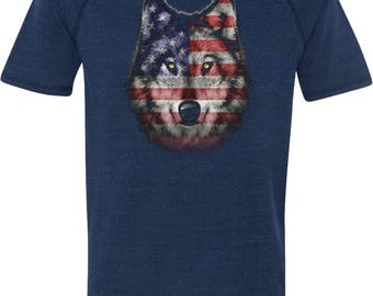Men's USA Wolf Tri Blend Tee T-Shirt 20979D1-M1101