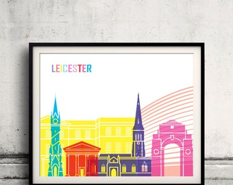Leicester skyline pop - Fine Art Print Glicee Poster Gift Illustration Pop Art Colorful Landmarks - SKU 2487