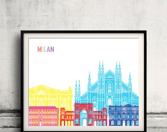 Milan V2 skyline pop - Fine Art Print Glicee Poster Gift Illustration Pop Art Colorful Landmarks - SKU 2509