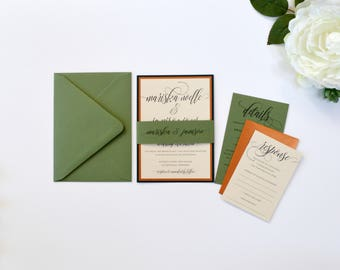 Sage Green Wedding Invitation, Copper wedding invitation, Rose Gold Wedding Invitation, Forest wedding, Greenery wedding