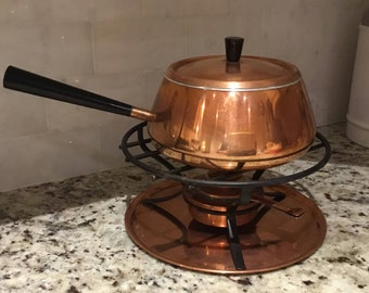 Vintage Copper Fondue Set by Spring Culinox, Made in Switzerland - Pot w/ Lid, Stand, Burner, Tray