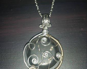 Dusk Weaver:  river rock pendant necklace