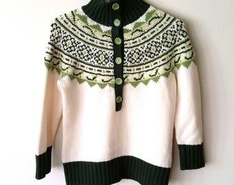 Nordic sweater, S, M, fair isle sweater, ski sweater, wool sweater, green sweater, vintage ski sweater