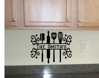 Kitchen monogram decal, Monogram wall decal, wall decal for kitchen, name wall decal, dining room wall decal, kitchen backsplash decal