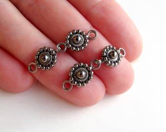 Rhodium noir argent fermoir crochet et oeil 28x9.5 granulé fleuri luxe bracelet collier Bali balinaise bascule concepteur 925 bijou