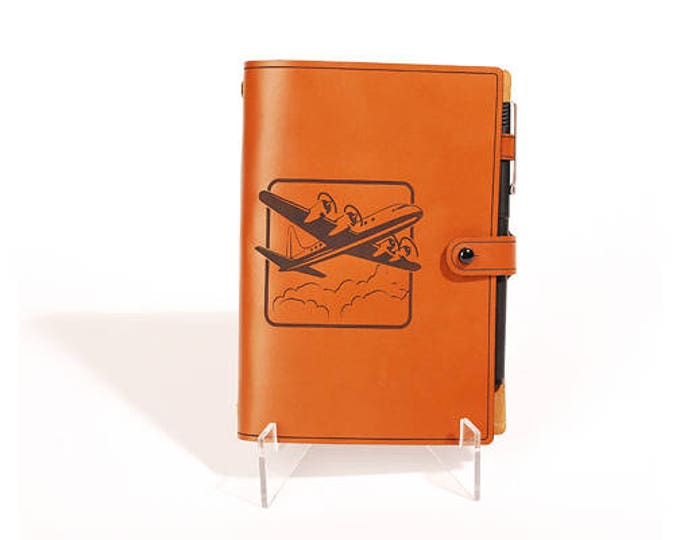 LEATHER JOURNAL - 4-Engine Plane Design - Personalized Journals - Travel Journal - Diary