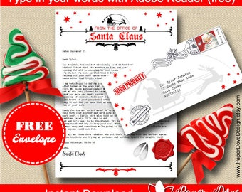 Letter from Santa with envelope - Template letter - EDITABLE & PRINTABLE - Instant Download - by PaperDoveDesign